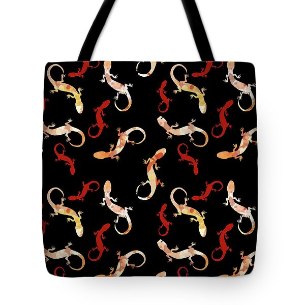 Tote Bag featuring the mixed media Gecko Pattern by Christina Rollo