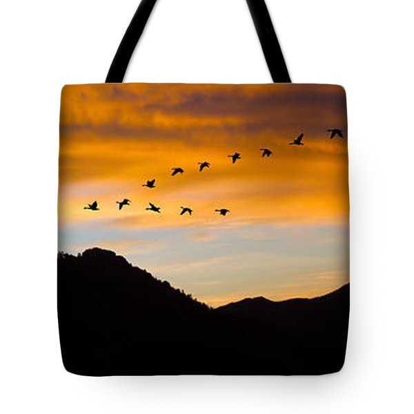 Tote Bag featuring the photograph Geese At Sunrise by Shane Bechler