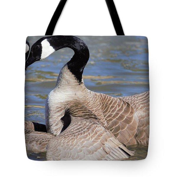 Tote Bag featuring the digital art Geese In Love by Margarethe Binkley
