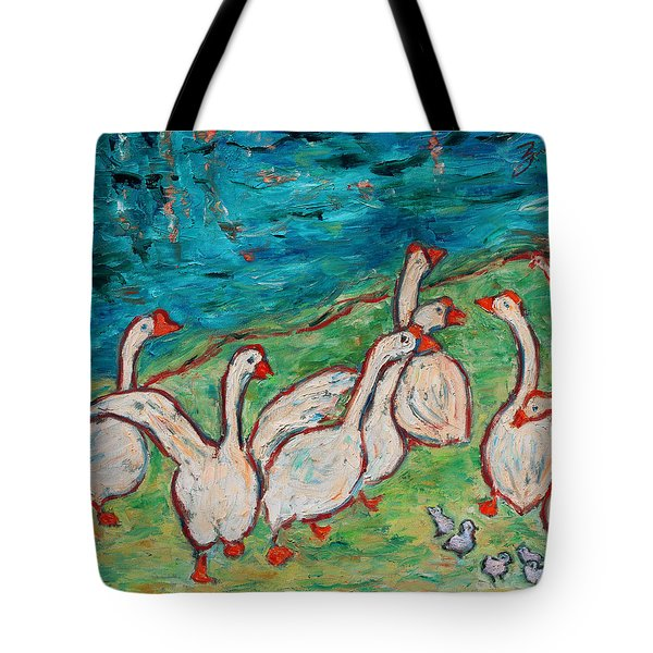 Tote Bag featuring the painting Geese By The Pond by Xueling Zou