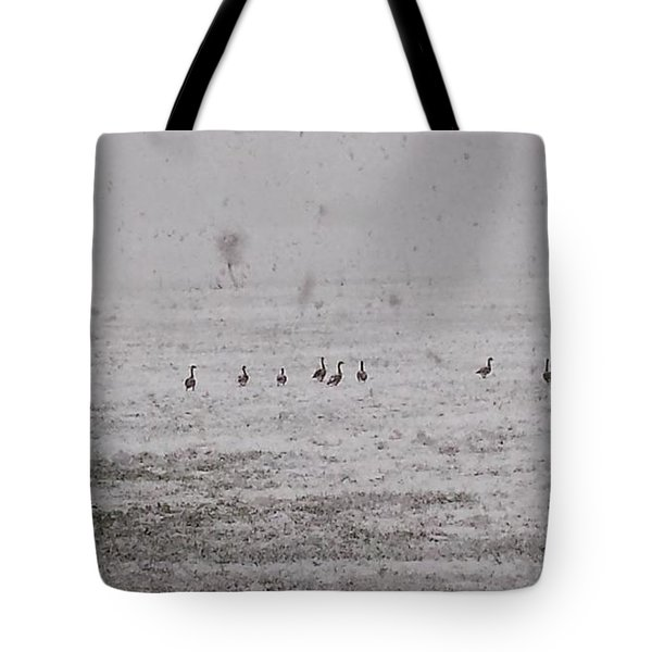 Geese During The Snow Storm Tote Bag