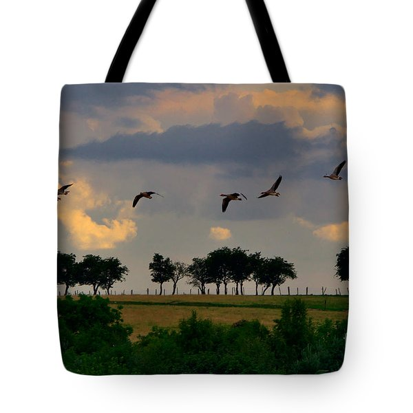 Geese Heading For Home Tote Bag
