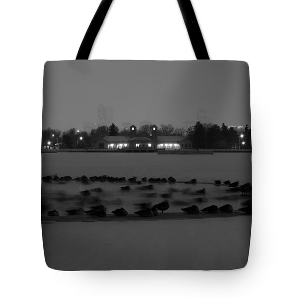 Geese In Frozen Lake Tote Bag
