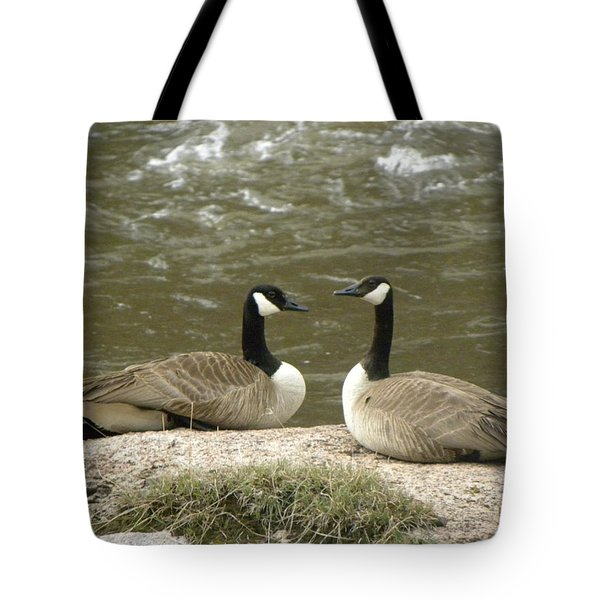 Tote Bag featuring the photograph Geese Platt River Deckers Co by Margarethe Binkley