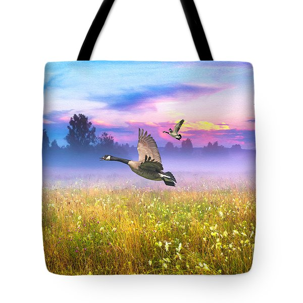 Geese In The Mist Tote Bag