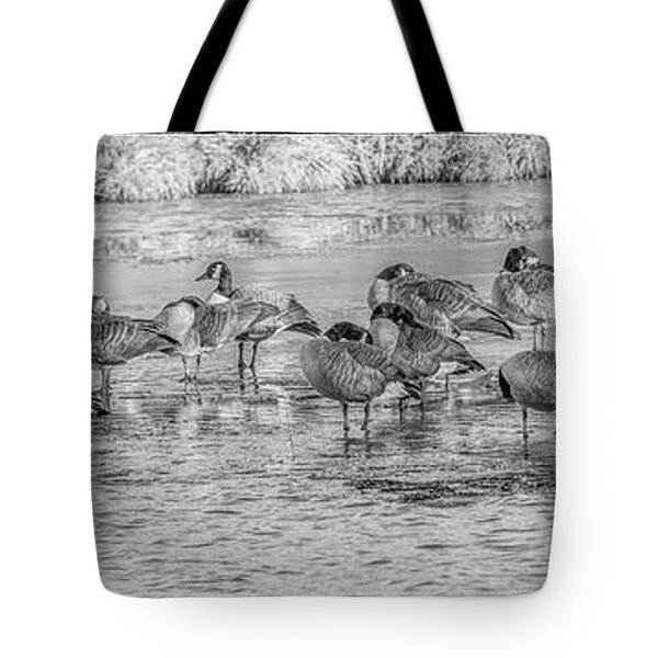Geese On Frozen Lake Tote Bag