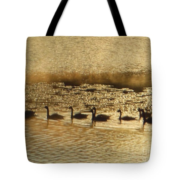 Geese On Golden Pond Tote Bag