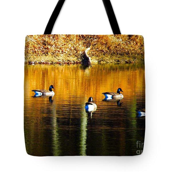 Geese On Lake Tote Bag