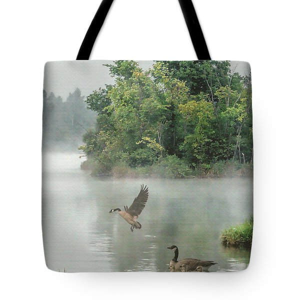 Geese On Misty Lake Tote Bag