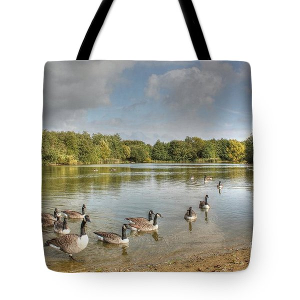 Geese On The Lake Hdr Tote Bag