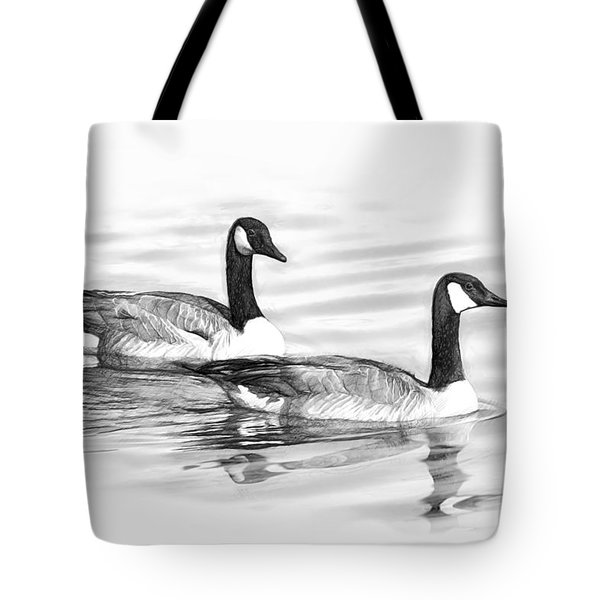 Geese On Water B And W Tote Bag