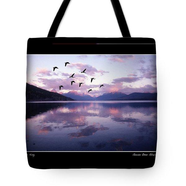 Geese Over Glacier Lake Poster Tote Bag