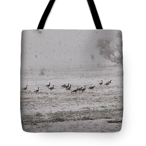Geese Walking In The Snow Tote Bag