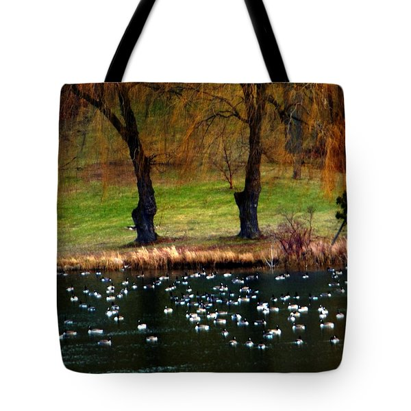 Geese Weeping Willows Tote Bag