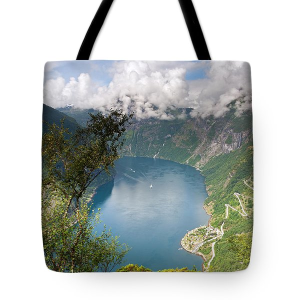 Geirangerfjord With Birch Tote Bag by Aivar Mikko