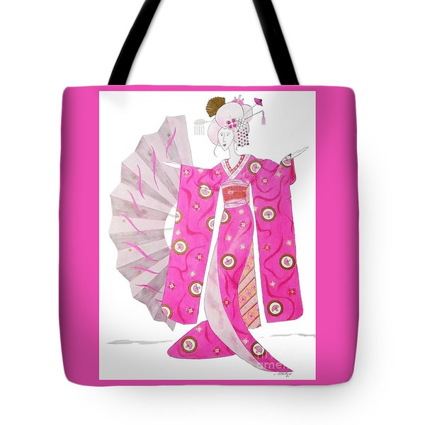 Geisha Barbie -- Whimsical Geisha Girl Drawing Tote Bag