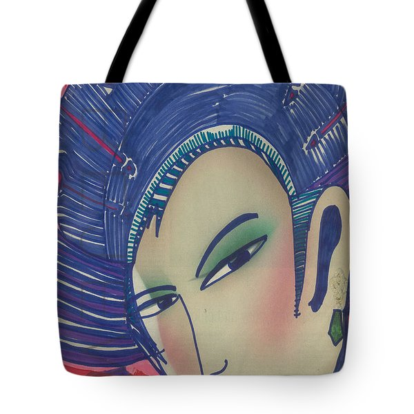 Tote Bag featuring the painting Geisha  Dragonlady by Don Koester