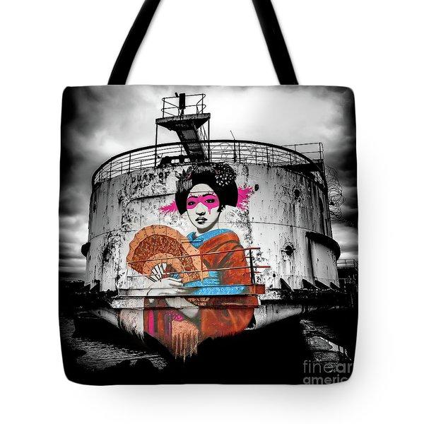 Tote Bag featuring the photograph Geisha Graffiti by Adrian Evans