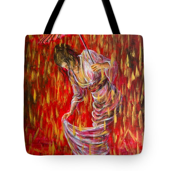 Tote Bag featuring the painting Geisha - Rain Dance 01 by Nik Helbig
