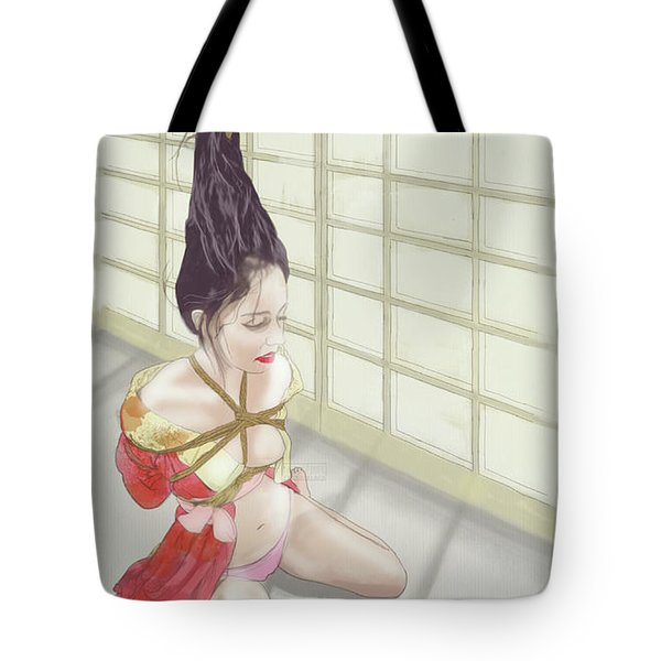 Tote Bag featuring the mixed media Geisha by TortureLord Art