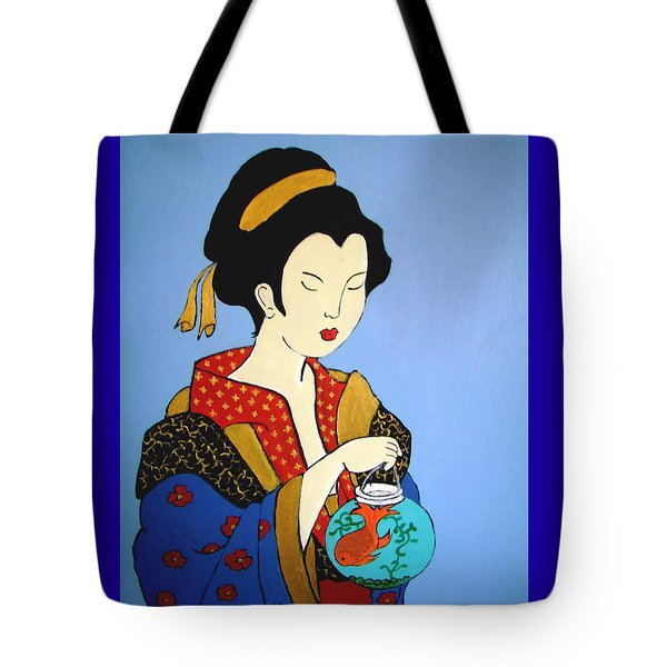 Tote Bag featuring the painting Geisha With Fish by Stephanie Moore
