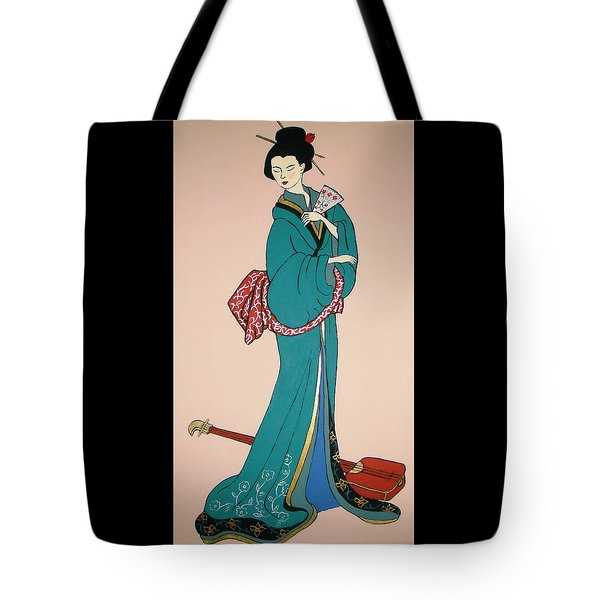 Tote Bag featuring the painting Geisha With Guitar by Stephanie Moore