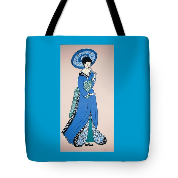 Tote Bag featuring the painting Geisha With Parasol by Stephanie Moore