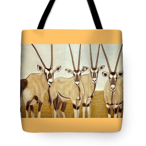 Gemsboks Or 0ryxs Triptych Tote Bag by Isabelle Ehly