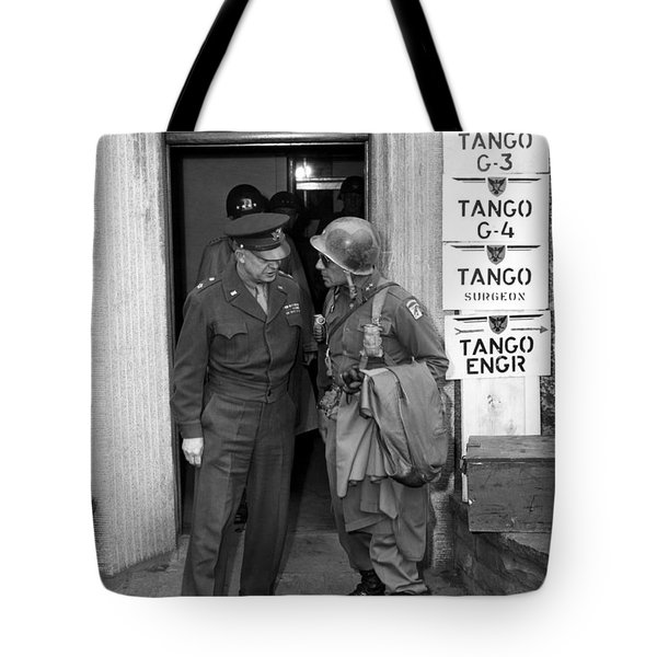Tote Bag featuring the photograph General Eisenhower And General Ridgway  by War Is Hell Store