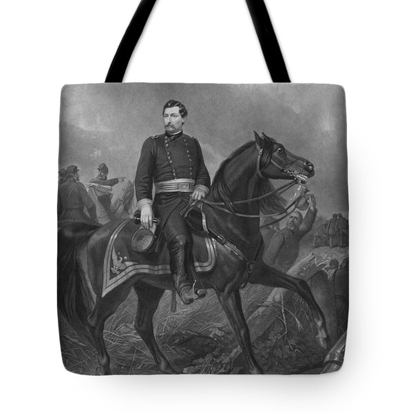 Tote Bag featuring the mixed media General George Mcclellan On Horseback by War Is Hell Store
