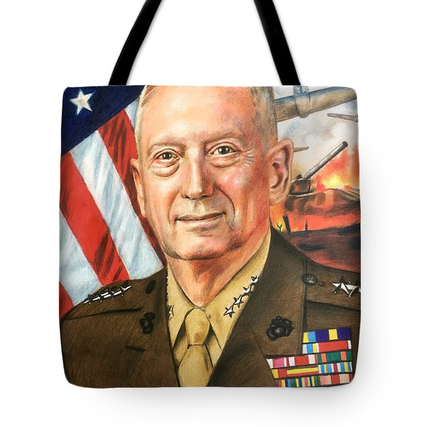 General Mattis Portrait Tote Bag by Robert Korhonen