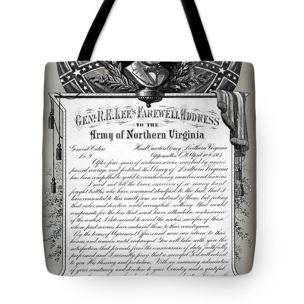 Tote Bag featuring the mixed media General Robert E. Lee's Farewell Address To Confederate Soldiers by Daniel Hagerman
