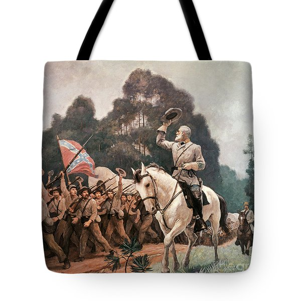 General Robert Lee Saluting The Troops Heading To The Front Tote Bag