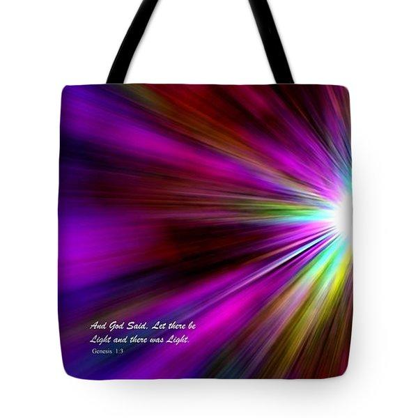 Genesis 1 Verse 3 Tote Bag