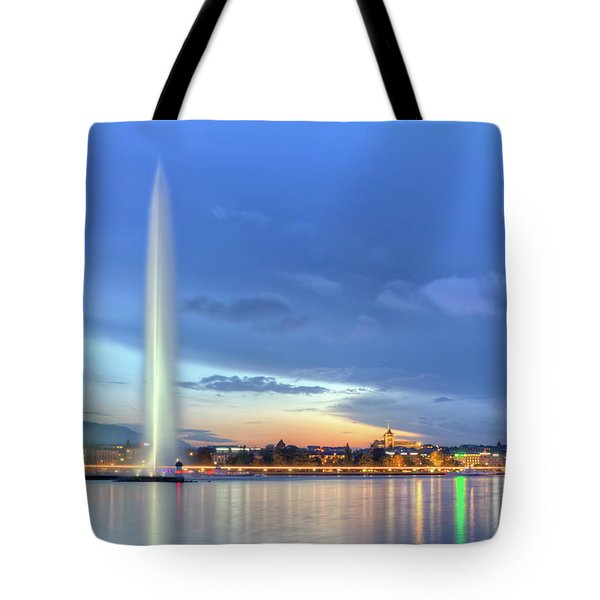 Geneva Lake With Famous Fountain, Switzerland, Hdr Tote Bag