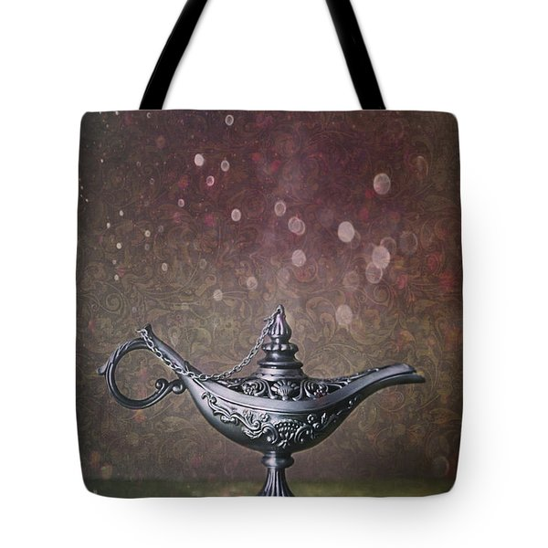 Genie Lamp On Old Book Tote Bag