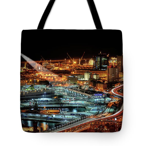 Genoa And The Lighthouse By Night - Genova E La Sua Lanterna  Tote Bag