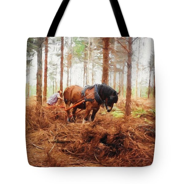 Gentle Giant - Horse At Work In Forest Tote Bag