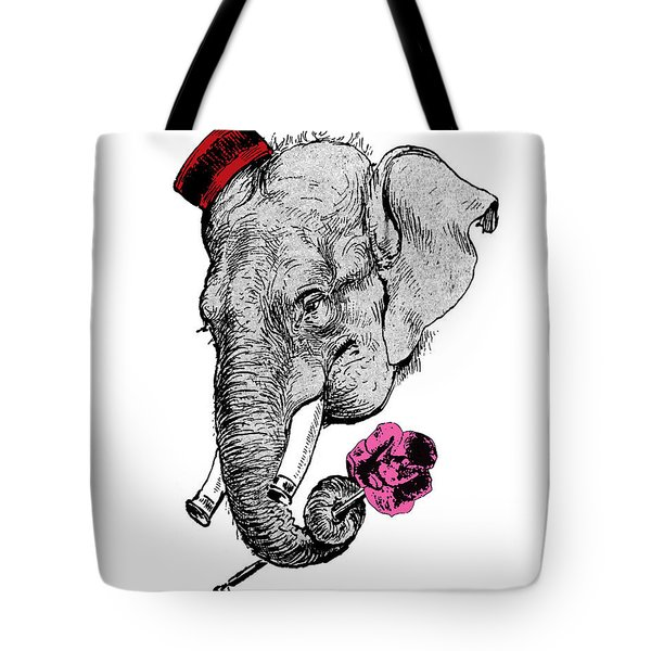Gentleman Elephant With Pink Rose Tote Bag