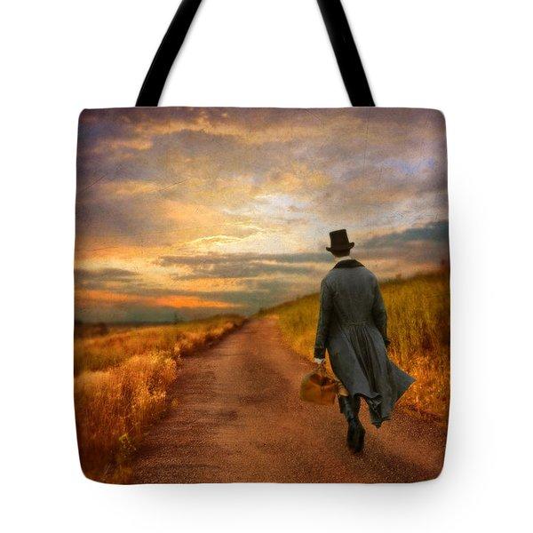 Gentleman Walking On Rural Road Tote Bag by Jill Battaglia