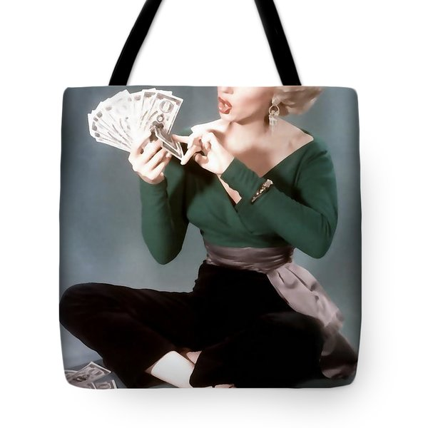 Tote Bag featuring the painting Gentlemen Prefer Blondes Movie Art Staring Marilyn Monroe by R Muirhead Art
