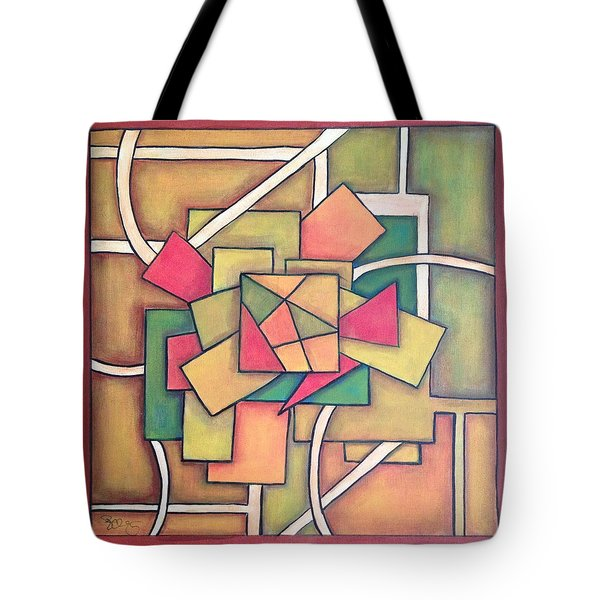 Tote Bag featuring the painting Geometric 18x18 by Patricia Cleasby