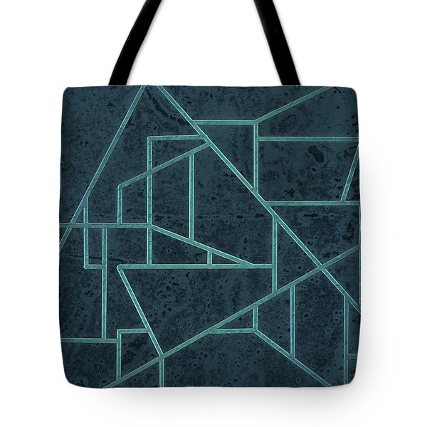Geometric Abstraction In Blue Tote Bag