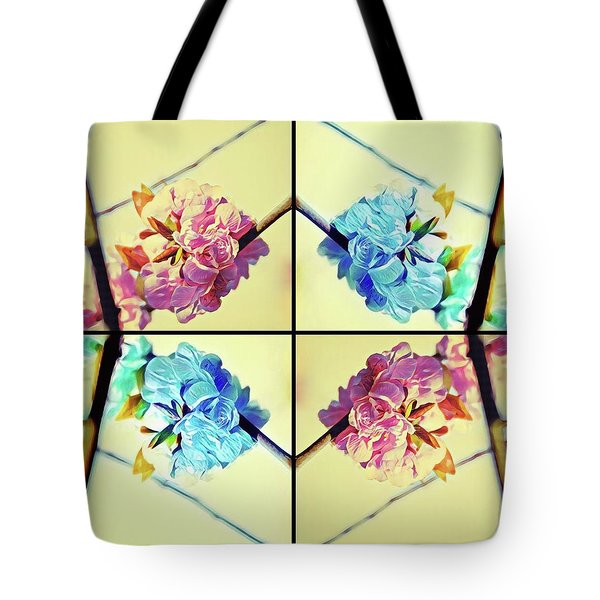 Geometric Cherry Blossoms Tote Bag