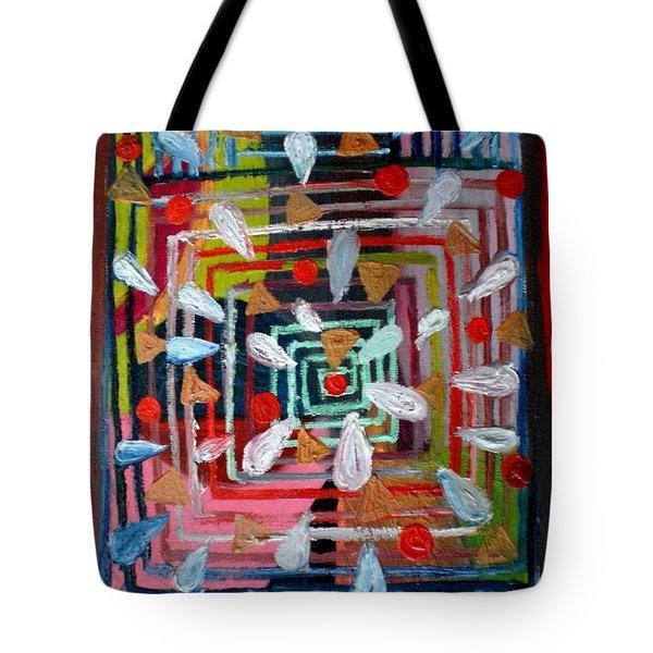 Geometric Happiness Tote Bag by Rizwana Mundewadi