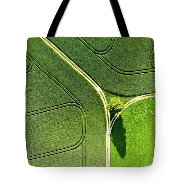 Geometric Landscape 05 Tree And Green Fields Aerial View Tote Bag