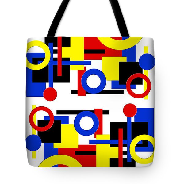 Tote Bag featuring the digital art Geometric Shapes Abstract V 1 by Andee Design