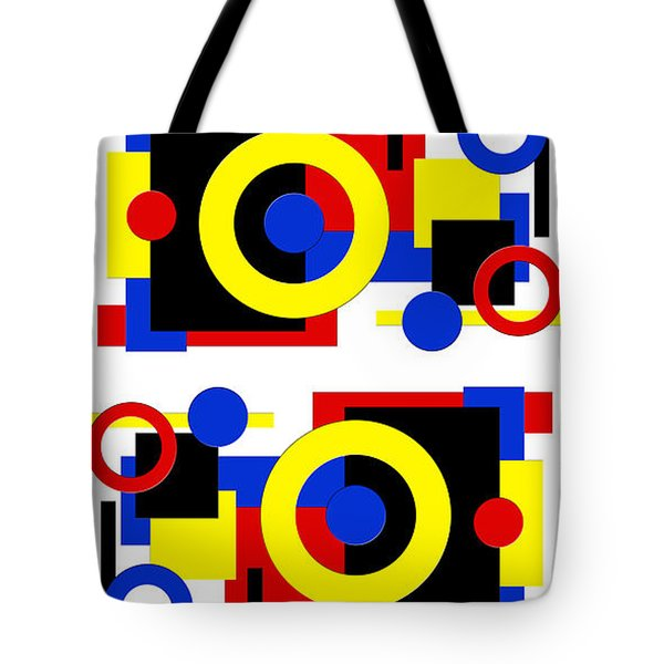 Tote Bag featuring the digital art Geometric Shapes Abstract V 2 by Andee Design