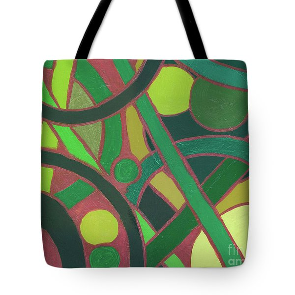 Tote Bag featuring the painting Geometric Study Green On Copper by Ania M Milo