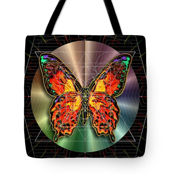 Tote Bag featuring the digital art Geometron Fyr Lepidoptera by Iowan Stone-Flowers